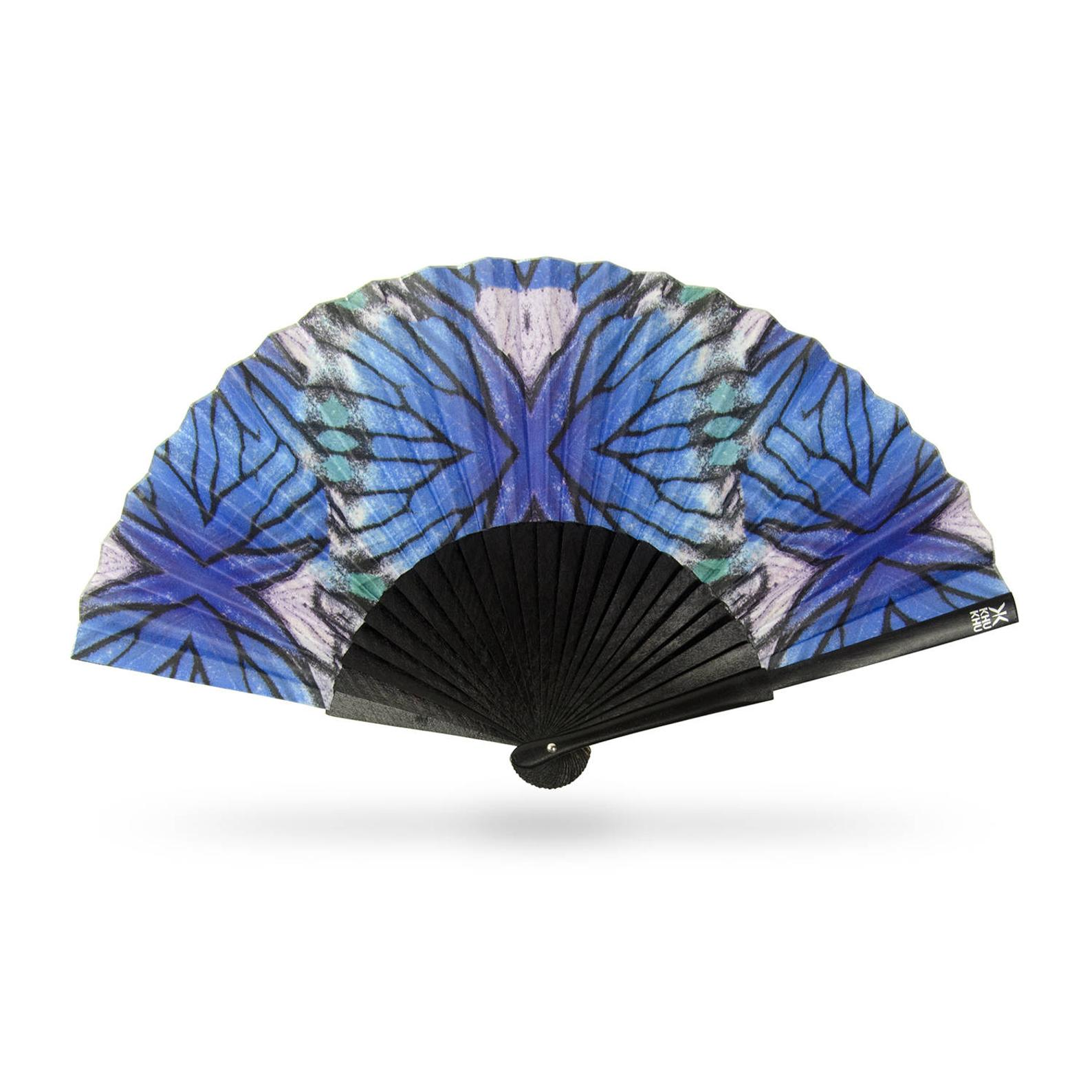 combat menopause on the go, Khu Khu London Blue Lyca hand fan with blue, white and black design and black handle