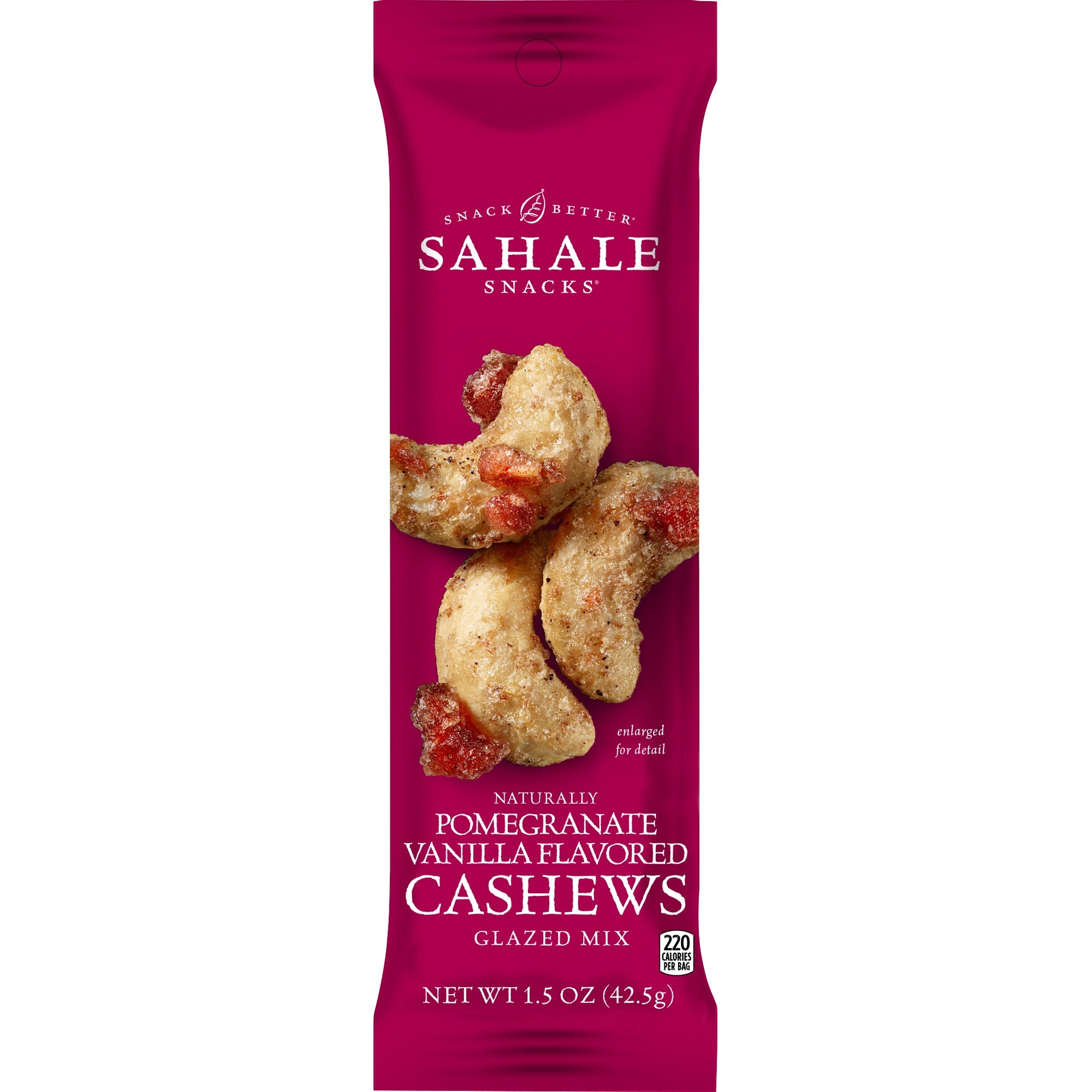 combat menopause on the go, Sahale Snacks Pomegranate Vanilla Flavored Cashews, red pouch