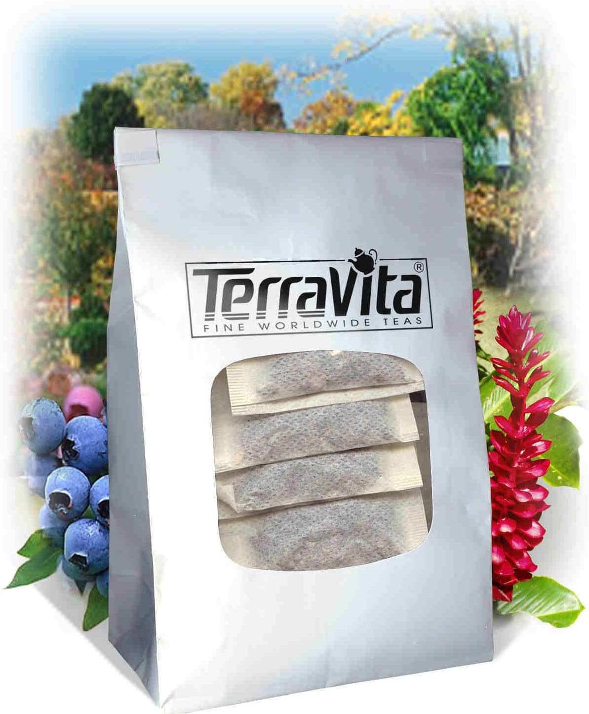 combat menopause on the go, silver bag with window on front showing Terra Vita black cohosh tea bags