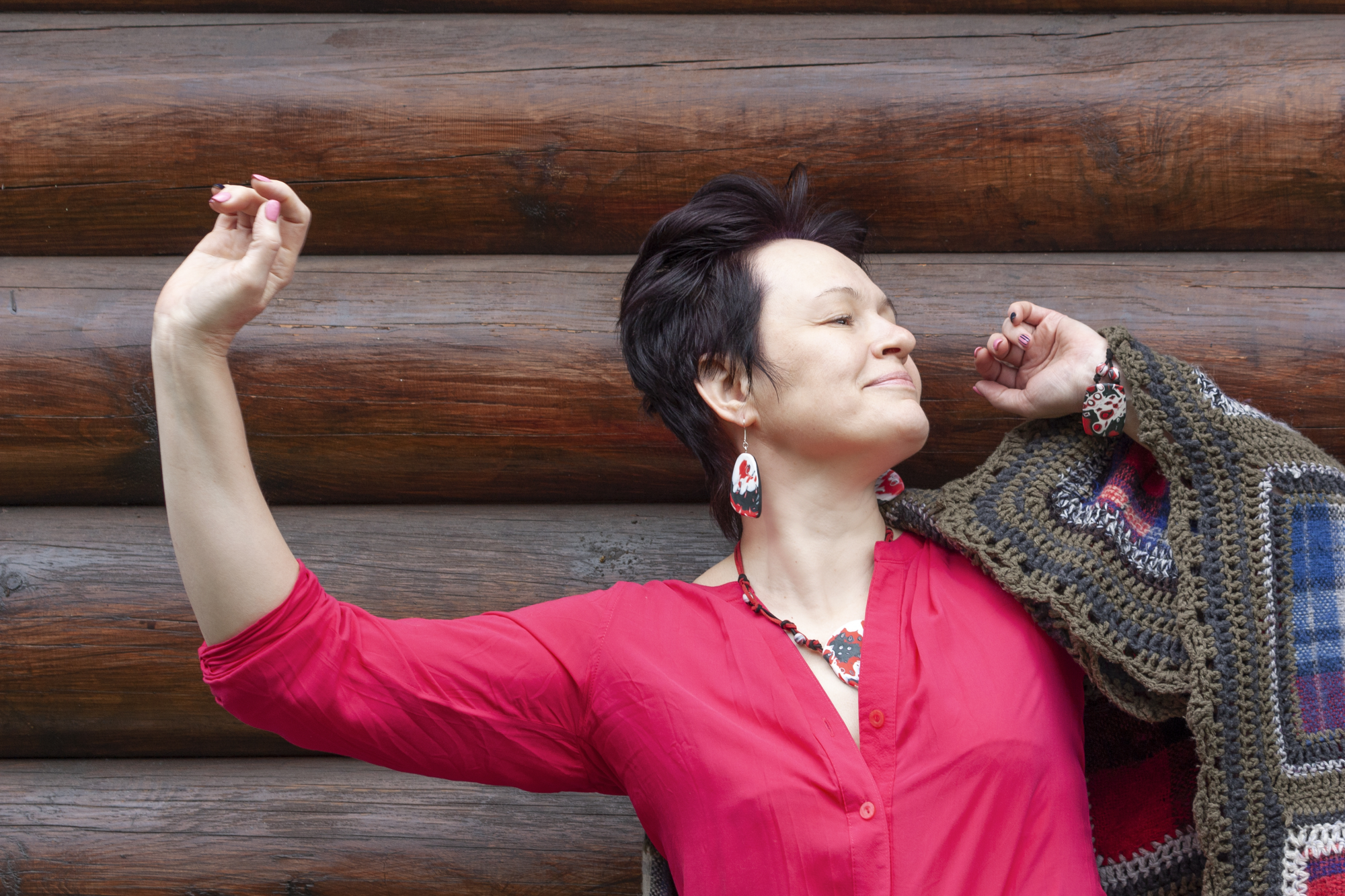 positive things about menopause, portrait of a beautiful middle-aged dancing woman
