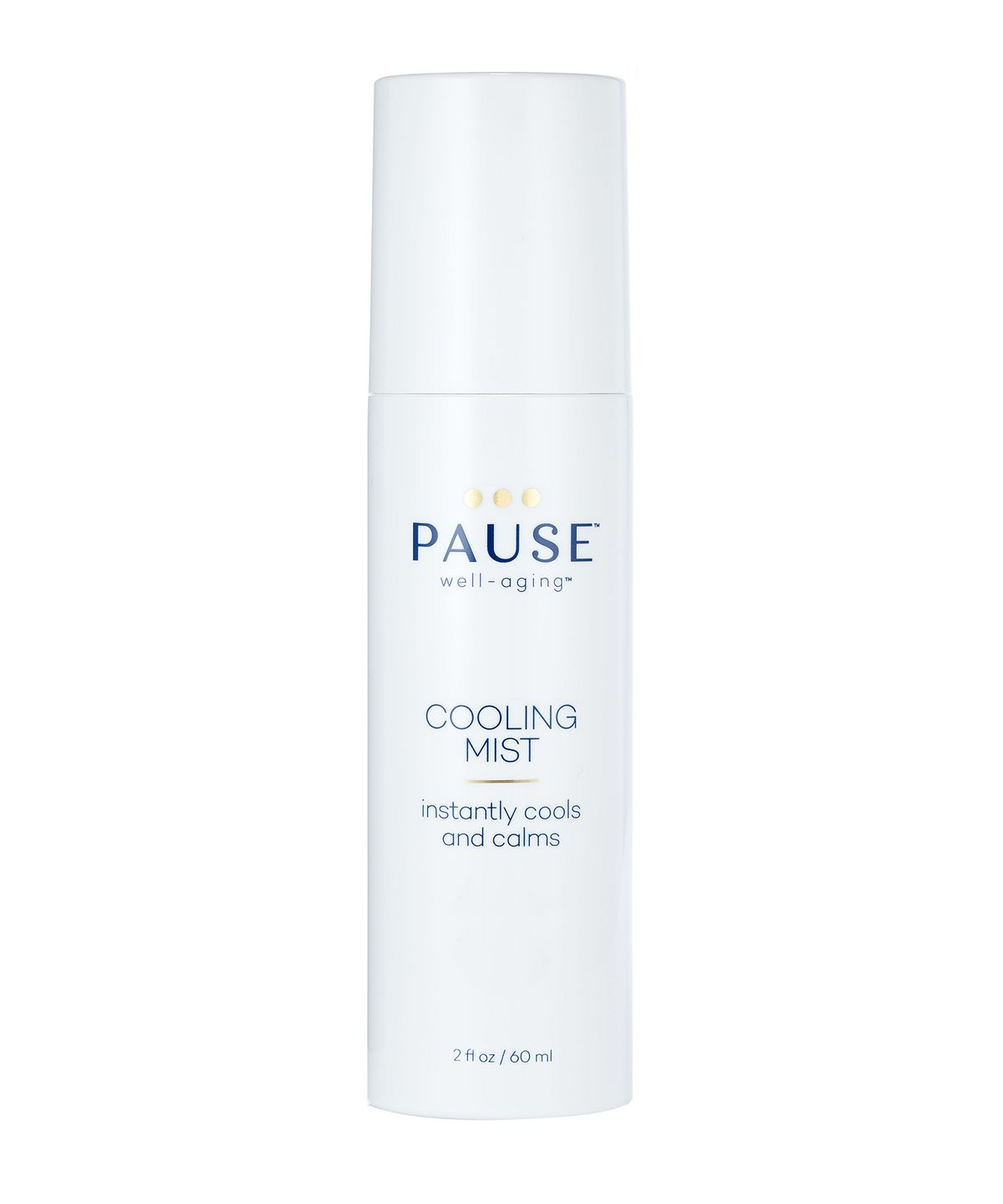 combat menopause on the go, Pause Well-Aging Cooling Mist white bottle with blue text