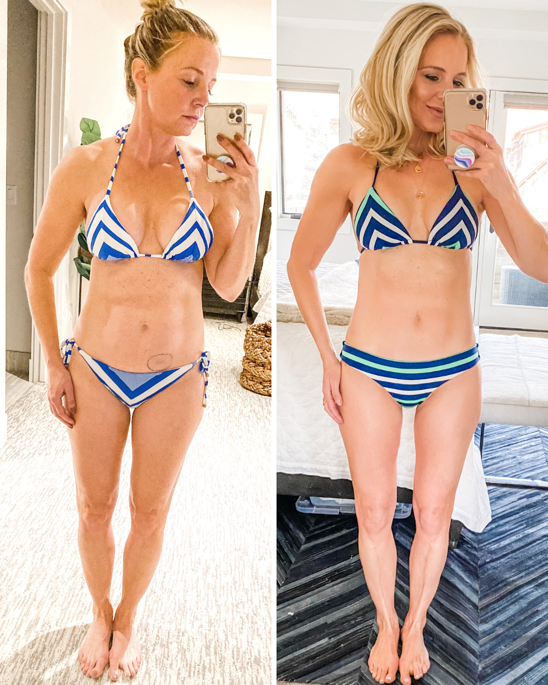 before and after weight loss during menopause featuring woman in striped bikini