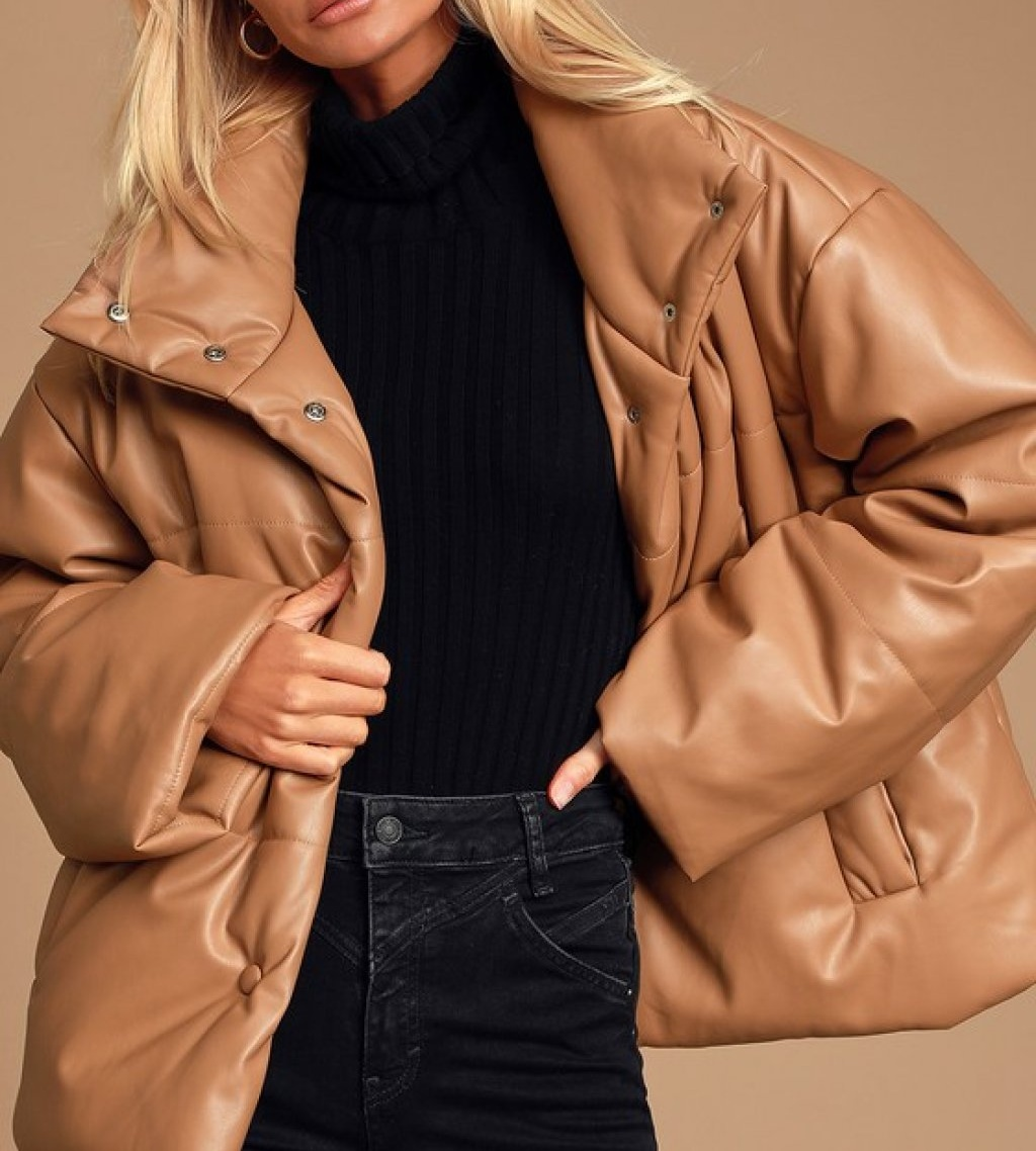 leather puffer in tan, fashion trends 2021