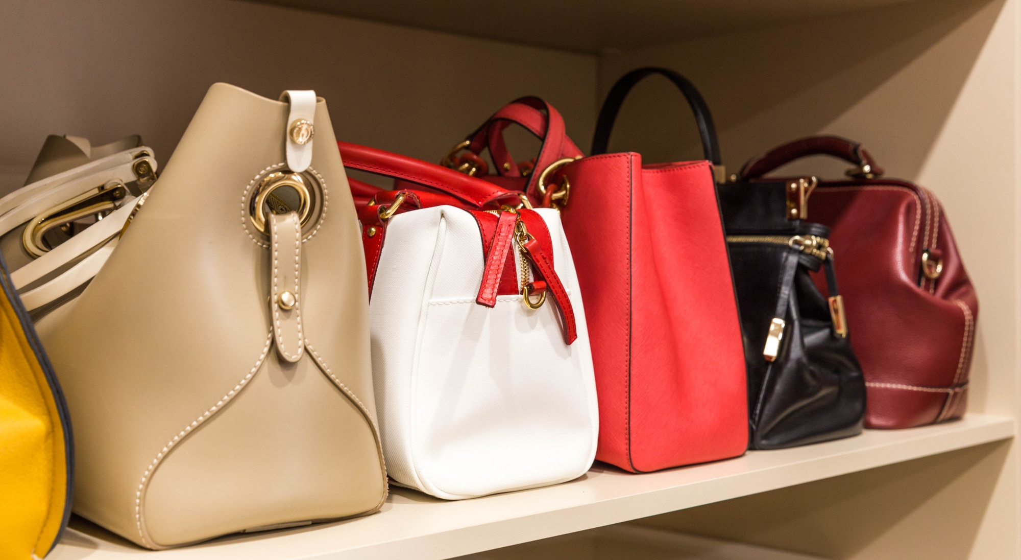 love your tiny closet collection of handbags in woman`s closet