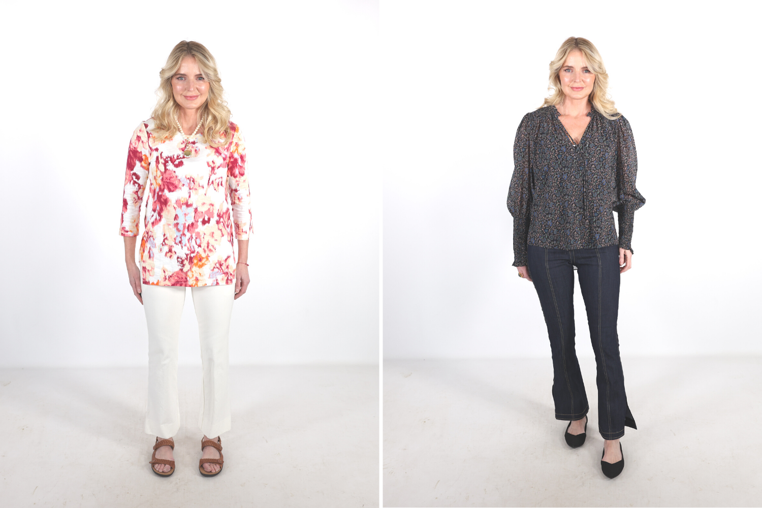 How to look younger, Erin Busbee in a before and after picture wearing a floral tee, white pants, and old lady sandals on the left and a Veronica Beard floral blouse with dark wash flare jeans and Rothy's flats on the right