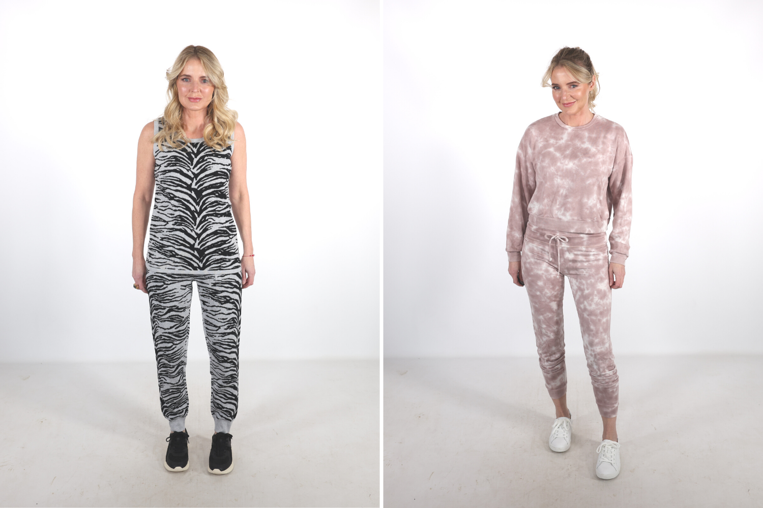 How To Look Younger, Erin Busbee of Busbee warning to beware of matching sets that are frumpy including a tiger print matching set on the left and a pink tie dye matching set by Alo Yoga on the right