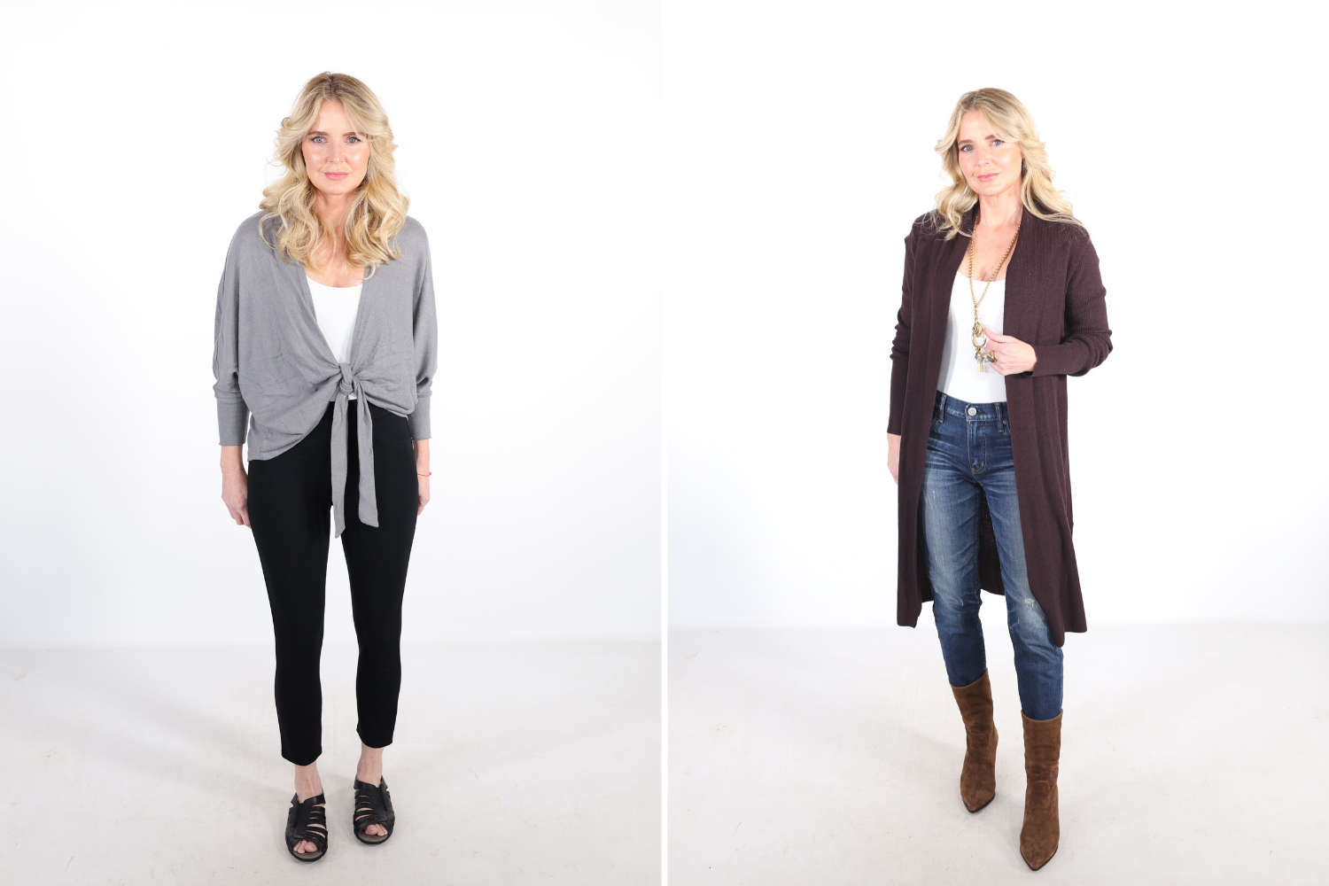 How To Look Younger, Erin Busbee of Busbee in a before and after wearing a gray tie front cardigan with black pants and old lady shoes on the left in the before picture. And a long rust colored cardigan, dark wash jeans, and brown boots on the right in the after picture
