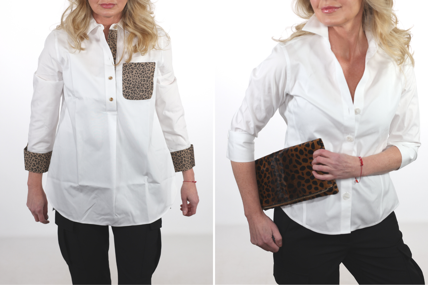 How To Look Younger, Erin Busbee of Busbee in a before and after wearing a white tunic top with leopard print details on the pocket and cuffs on the left and a white button down and leaopard clutch by Clare V on the right