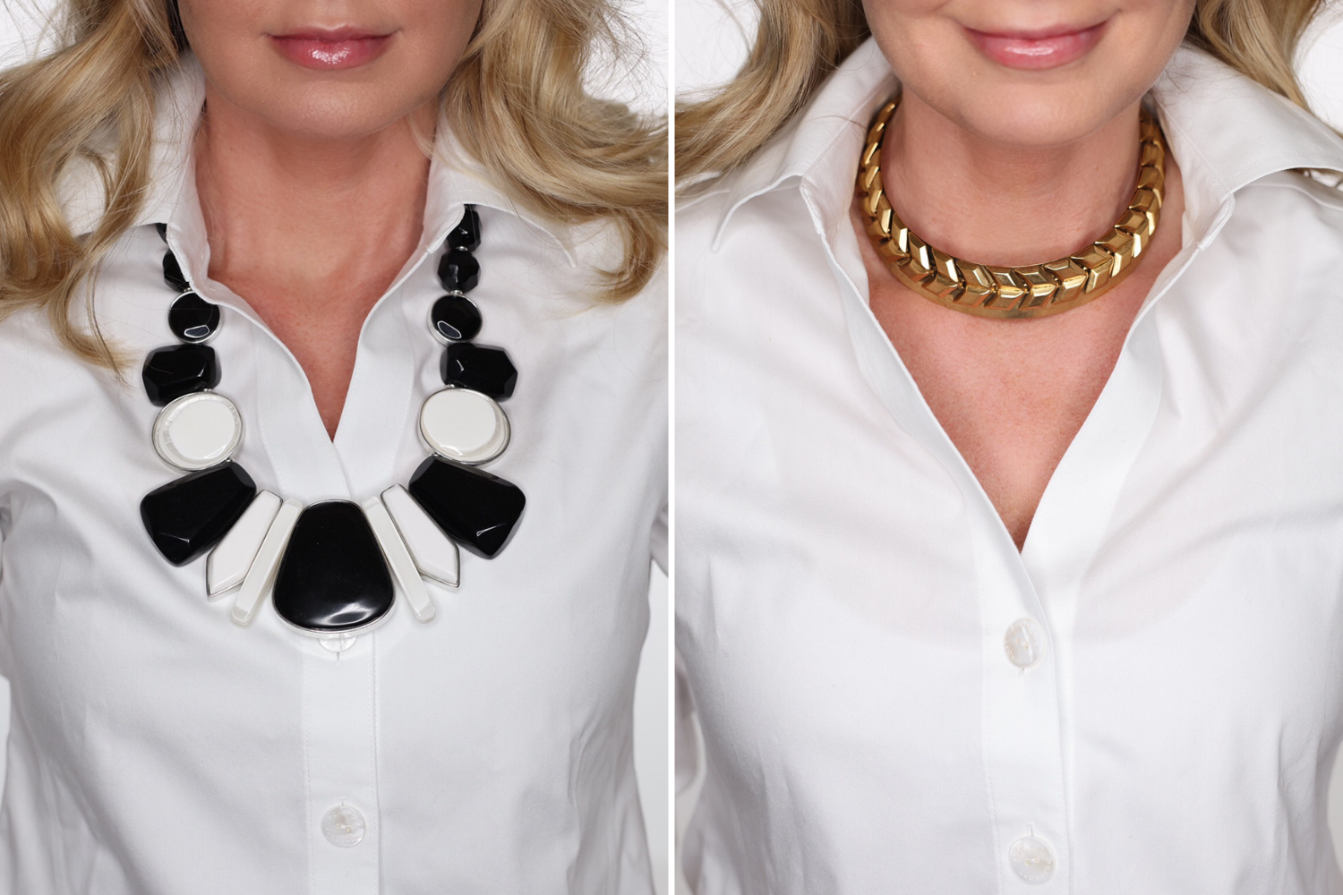 How To Look Younger, Erin Busbee of Busbee in a before and after wearing a black and white bold necklace on the left and a chic gold collar necklace on the right