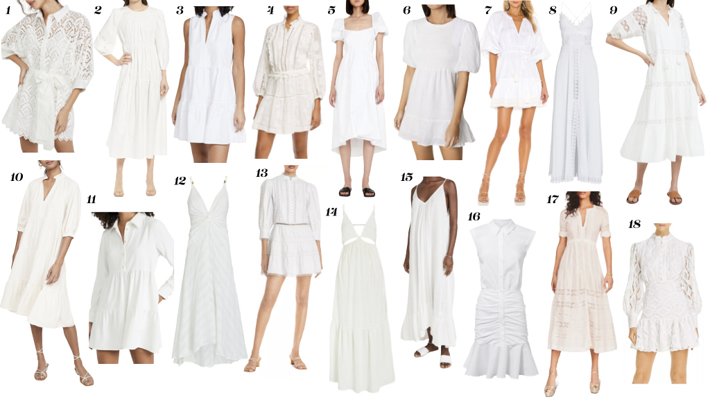 White Dresses Over 40, Erin Busbee of Busbee sharing the best white dresses for women over 40 including mini dresses, white maxi dresses, and white midi dresses