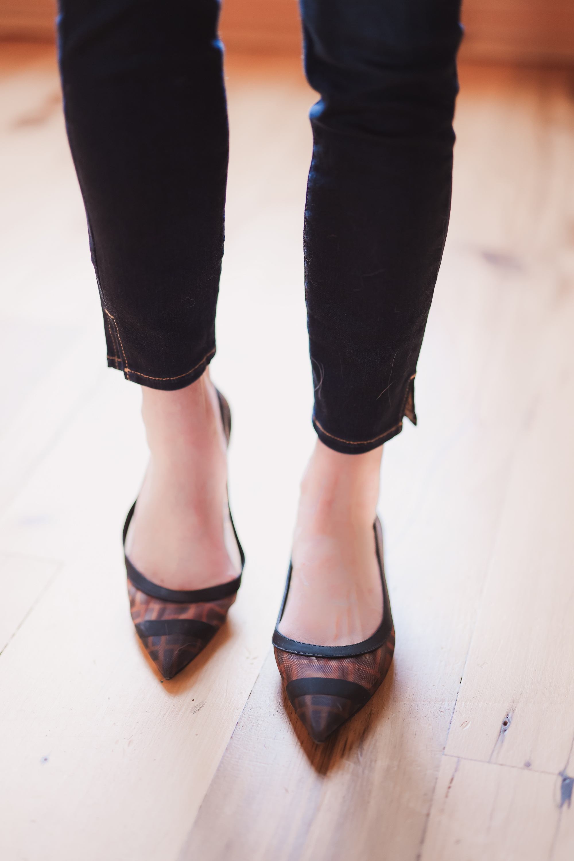FENDI flats black and brown pointed toe ballet flats with see through Fendi logo