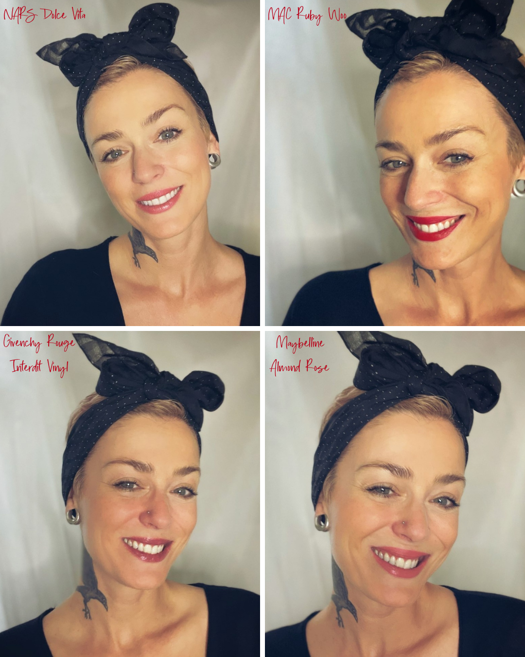 Go-To Lip Colors For Women Over 40 - Anna Wearing 4 Lip Colors including NARS Dolce Vita, MAC Ruby Woo, Givenchy Rouge Interdit Vinyl, and Maybelline Almond Rose