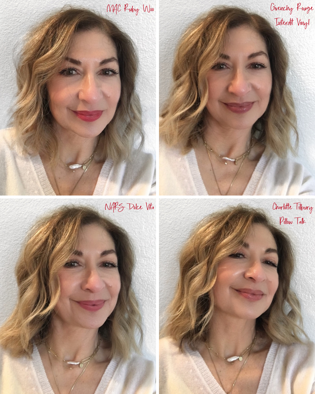 Go-To Lip Colors For Women Over 40 - Francine Wearing 4 Lip Colors including MAC Ruby Woo, Givenchy Rouge Interdit Vinyl, NARS Dolce Vita, and Charlotte Tilbury Pillow Talk