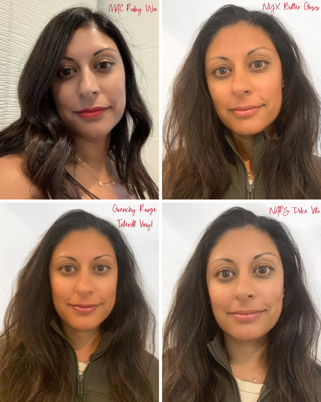 Go-To Lip Colors For Women Over 40 - Shilpa Wearing 4 Lip Colors including MAC Ruby Woo, NYX Butter Gloss, Givenchy Rouge Interdit Vinyl, and NARS Dolce Vita