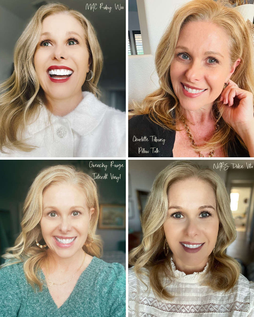 Go-To Lip Colors For Women Over 40 - Susan Wearing 4 Lip Colors including MAC Ruby Woo, Charlotte Tilbury Pillow Talk, Givenchy Rouge Interdit Vinyl, and NARS Dolce Vita
