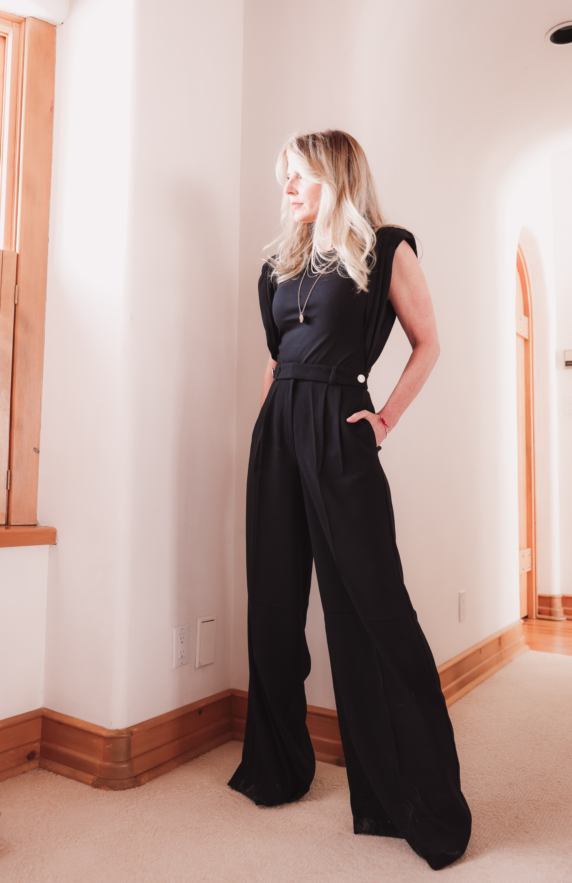 t-shirt trend, padded shoulder tee, padded shoulder bodysuit, padded shoulder trend, black wide leg pants, pre-layered necklace, express