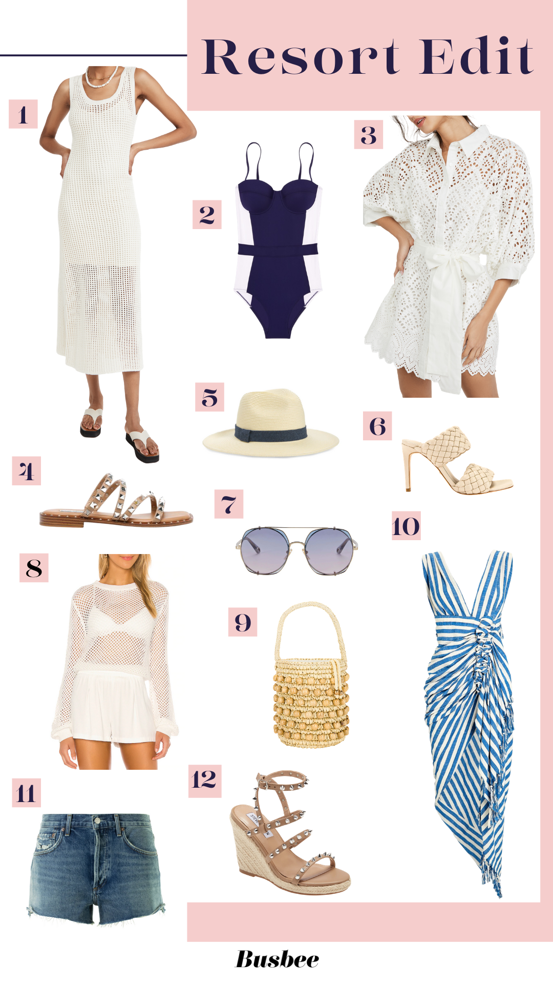 Beach Vacation Must Haves, Erin Busbee of Busbee sharing vacation must-haves like white dresses, sandals, swimsuits, denim shorts, and more!