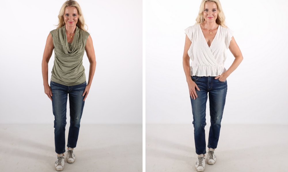 How to look younger, don't look frumpy, erin busbee, bad sleeve length, how to wear cap sleeves