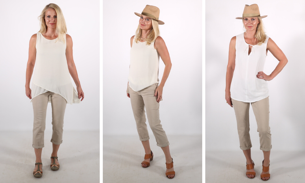 How to look younger, don't look frumpy, erin busbee, crotch framing tops, white tunic top