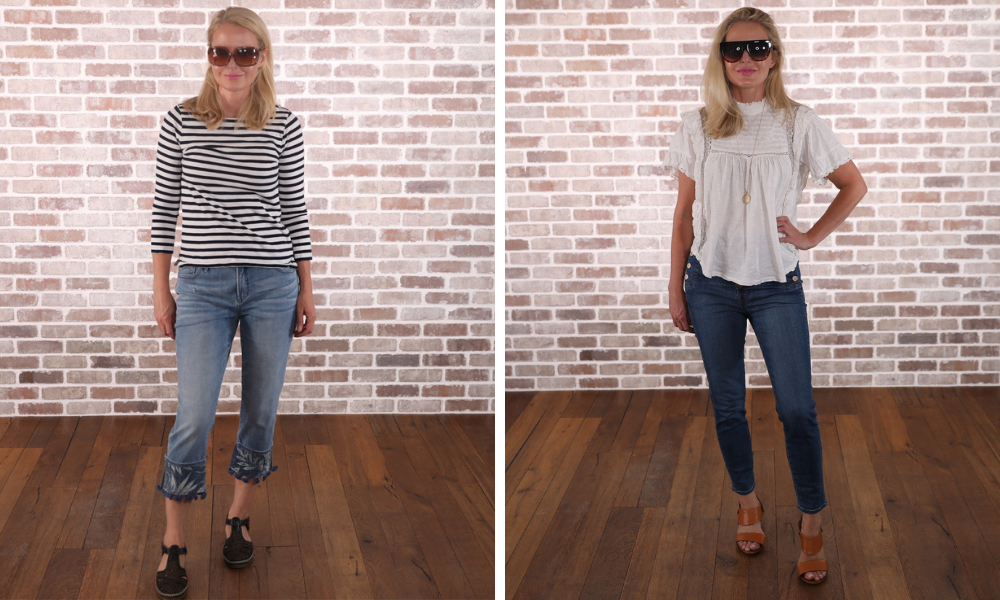 How to look younger, don't look frumpy, erin busbee, ditch dated jeans. embroidered jeans, j brand natasha jeans