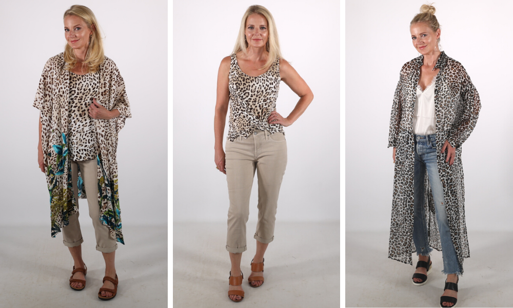 How to look younger, don't look frumpy, erin busbee, matchy matchy, leopard kimono, how to wear leopard