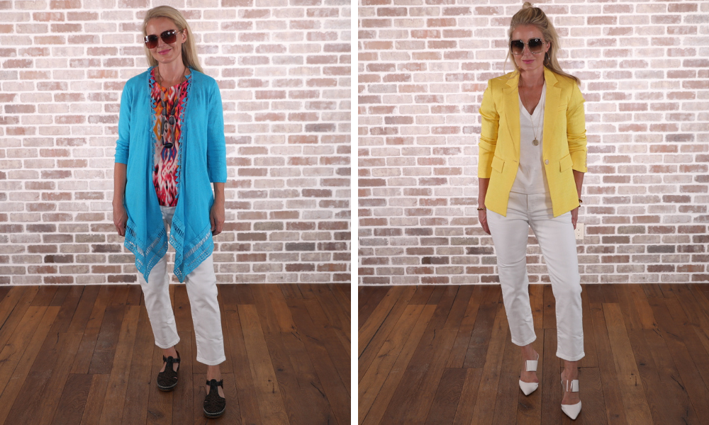 How to look younger, don't look frumpy, erin busbee, oversized cardigan, yellow blazer
