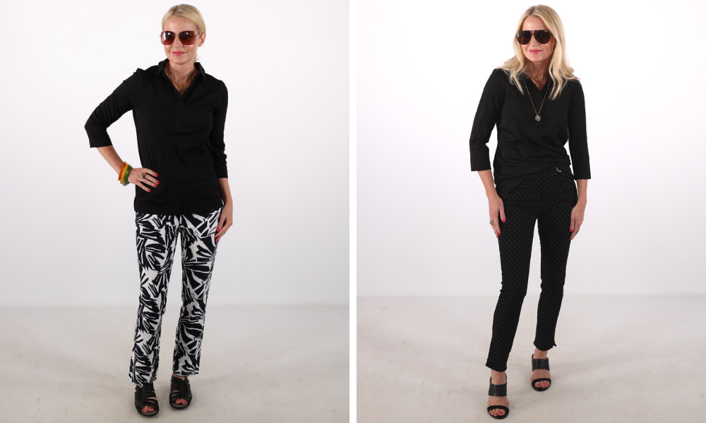 How to look younger, don't look frumpy, erin busbee, small scale prints, printed pants