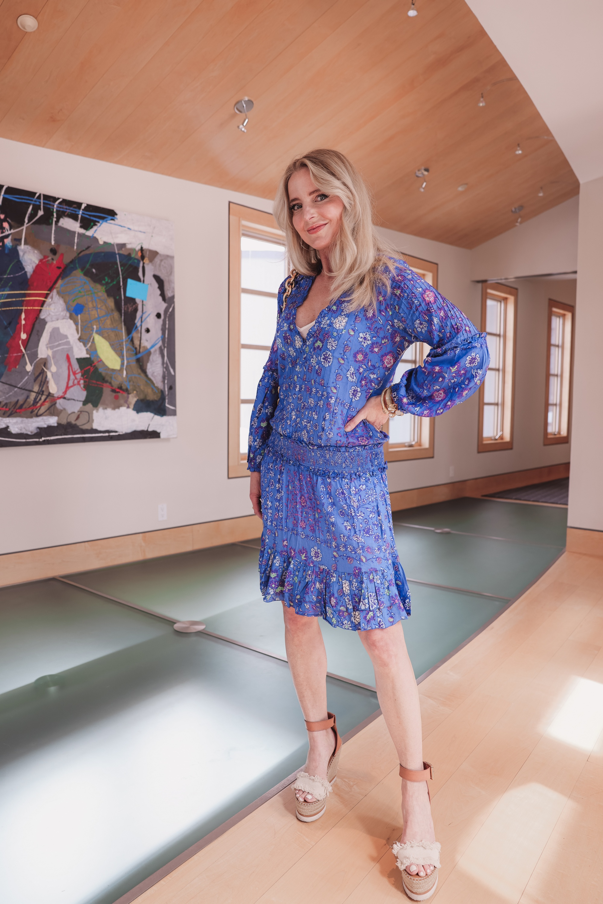 what to wear to a spring wedding, blue floal dress, blue mini dress, spring wedding guest dress, wedding guest, wedding guest dress, what to wear to a wedding as a guest, how to dress for a wedding, how to dress for a spring wedding