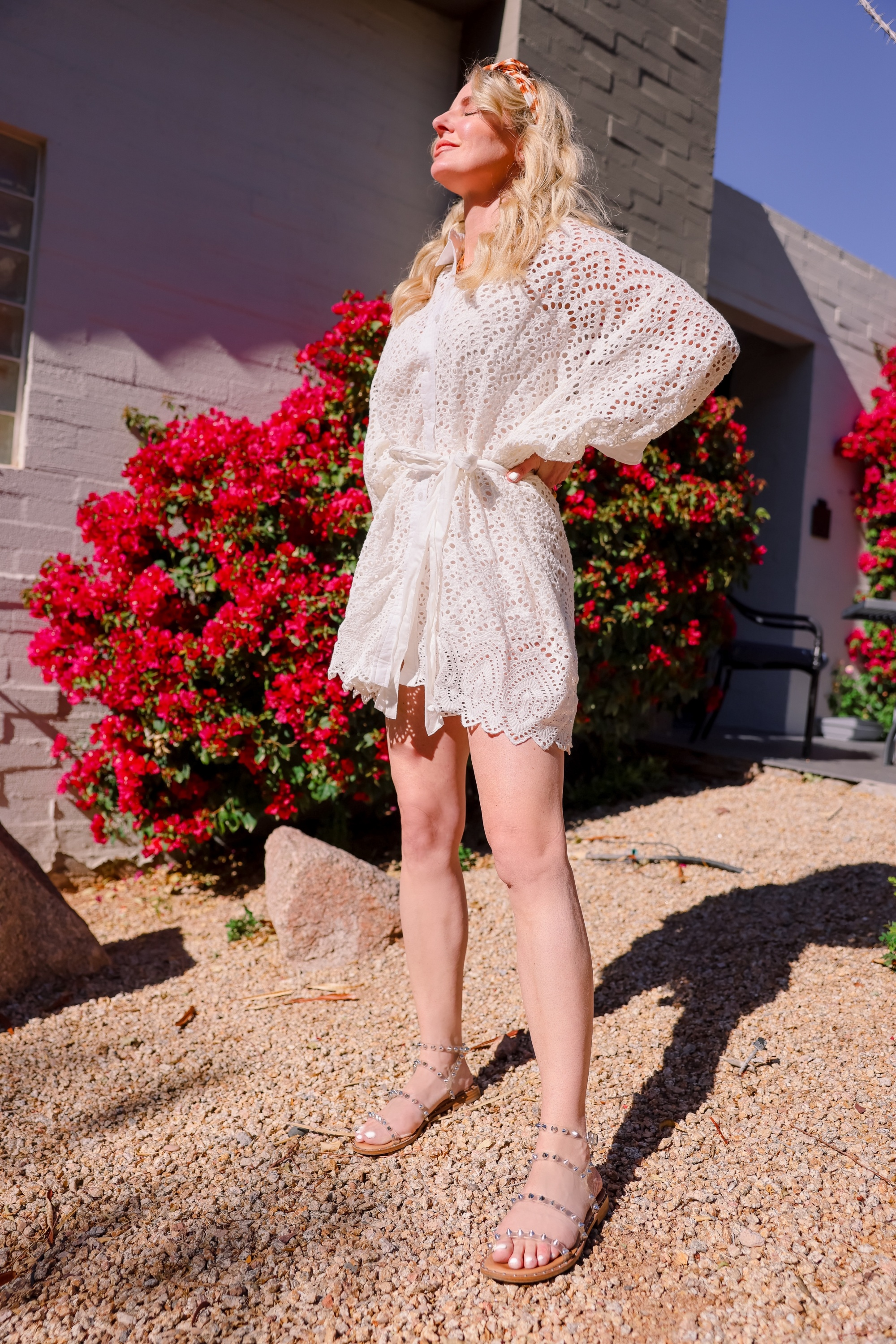 White dresses for spring and summer featuring eyelet white shirtdress by sundress on fashion over 40 blogger Erin Busbee