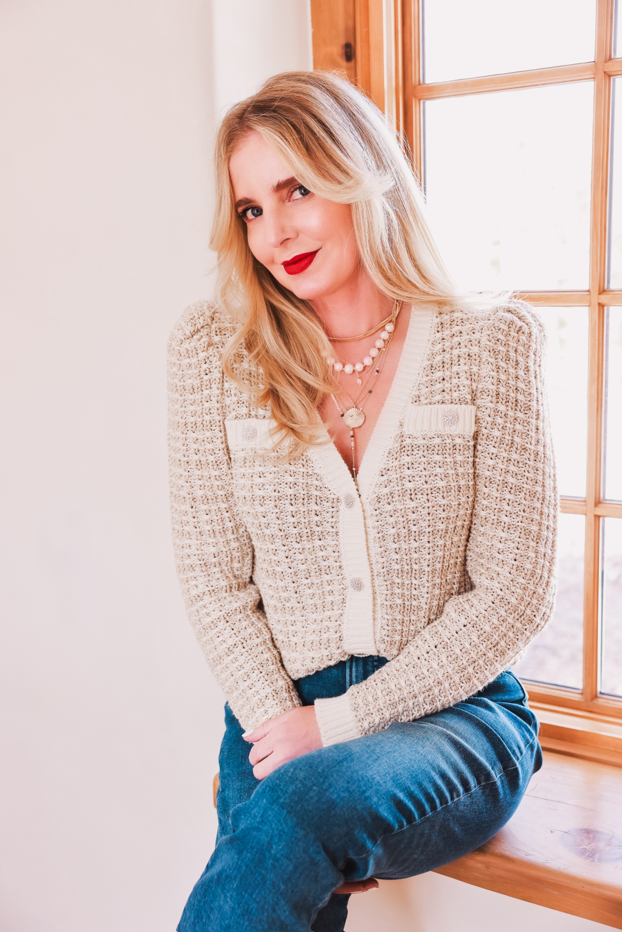 Chanel look on a budget, express woven sweater, express layered gold and pearl necklaces, layered jewelry, layered necklaces, express jeans, white sandals, white braided sandals, erin busbee