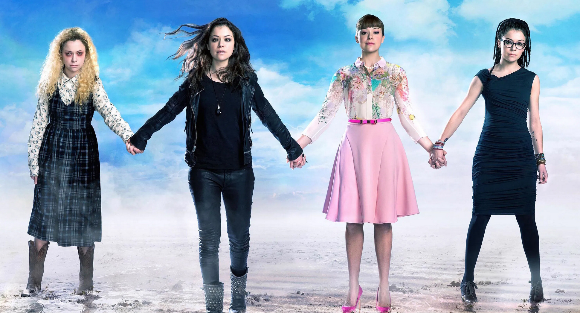 binge watch with your teens, Orphan Black, Amazon Prime, four young women holding hands