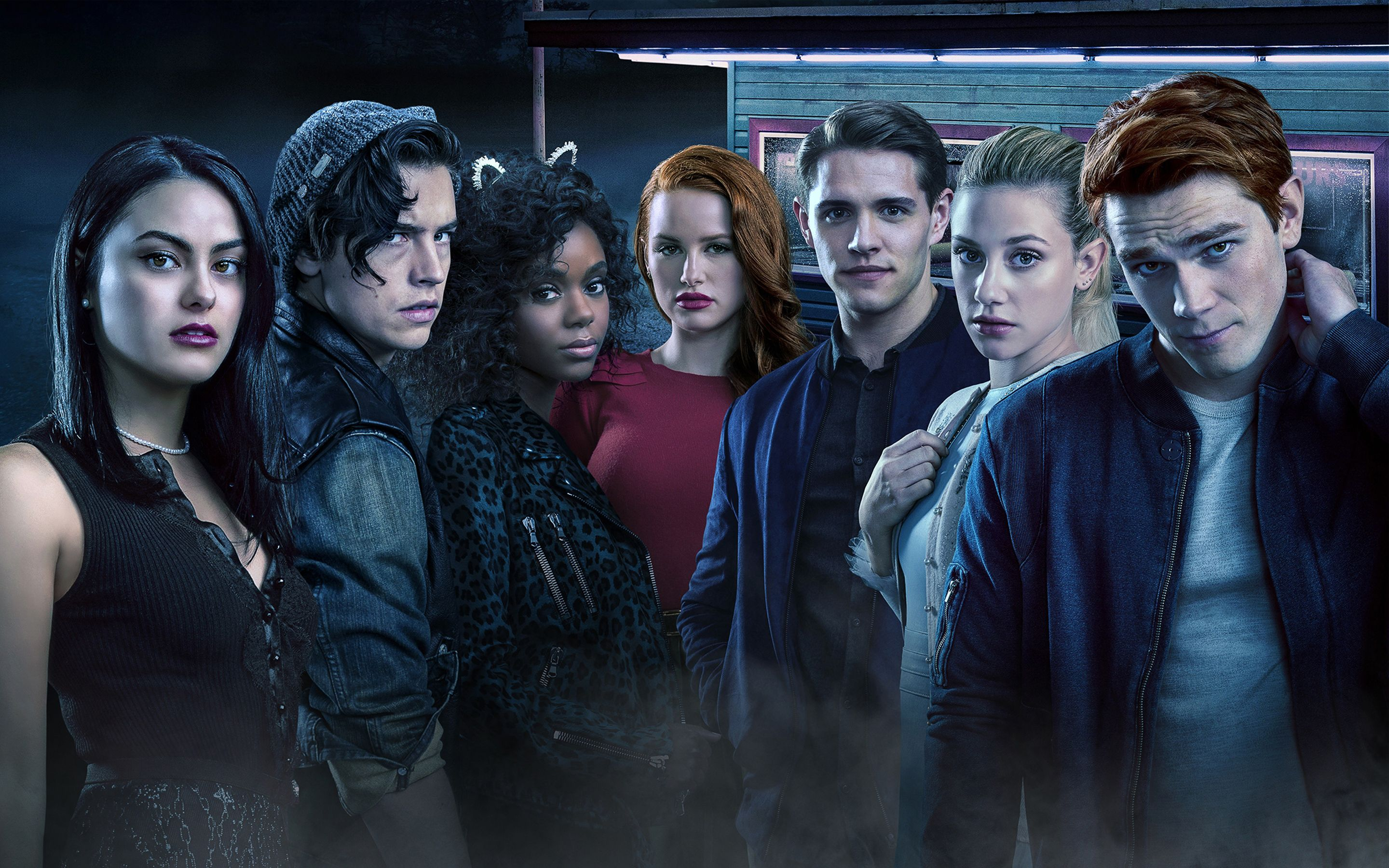 binge watch with your teens, Riverdale, Netflix, seven teenagers outside a diner at night