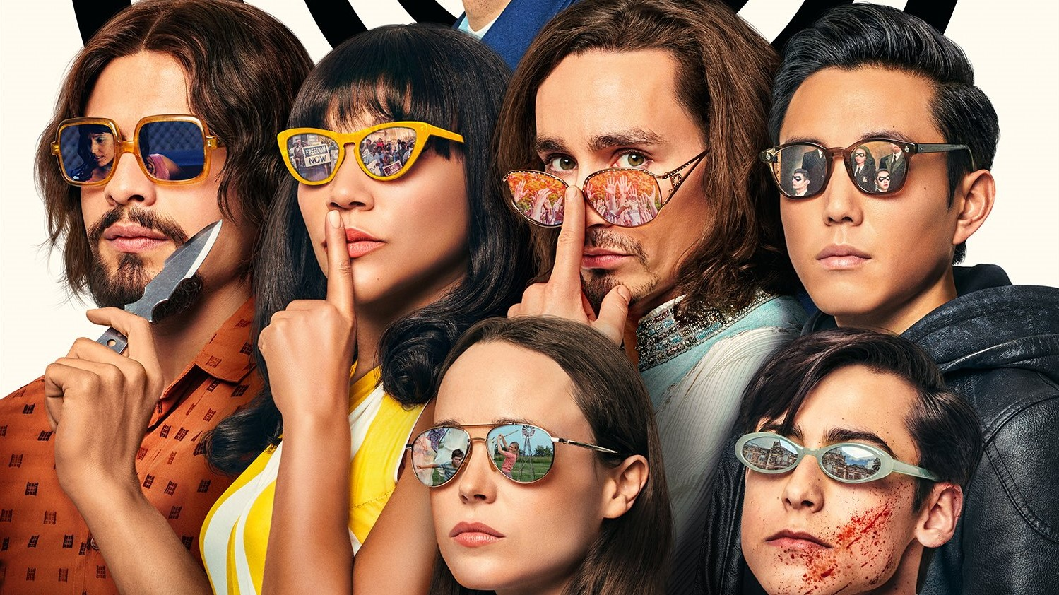 binge watch with your teens, the umbrella academy, Netflix, six young adults with sunglasses