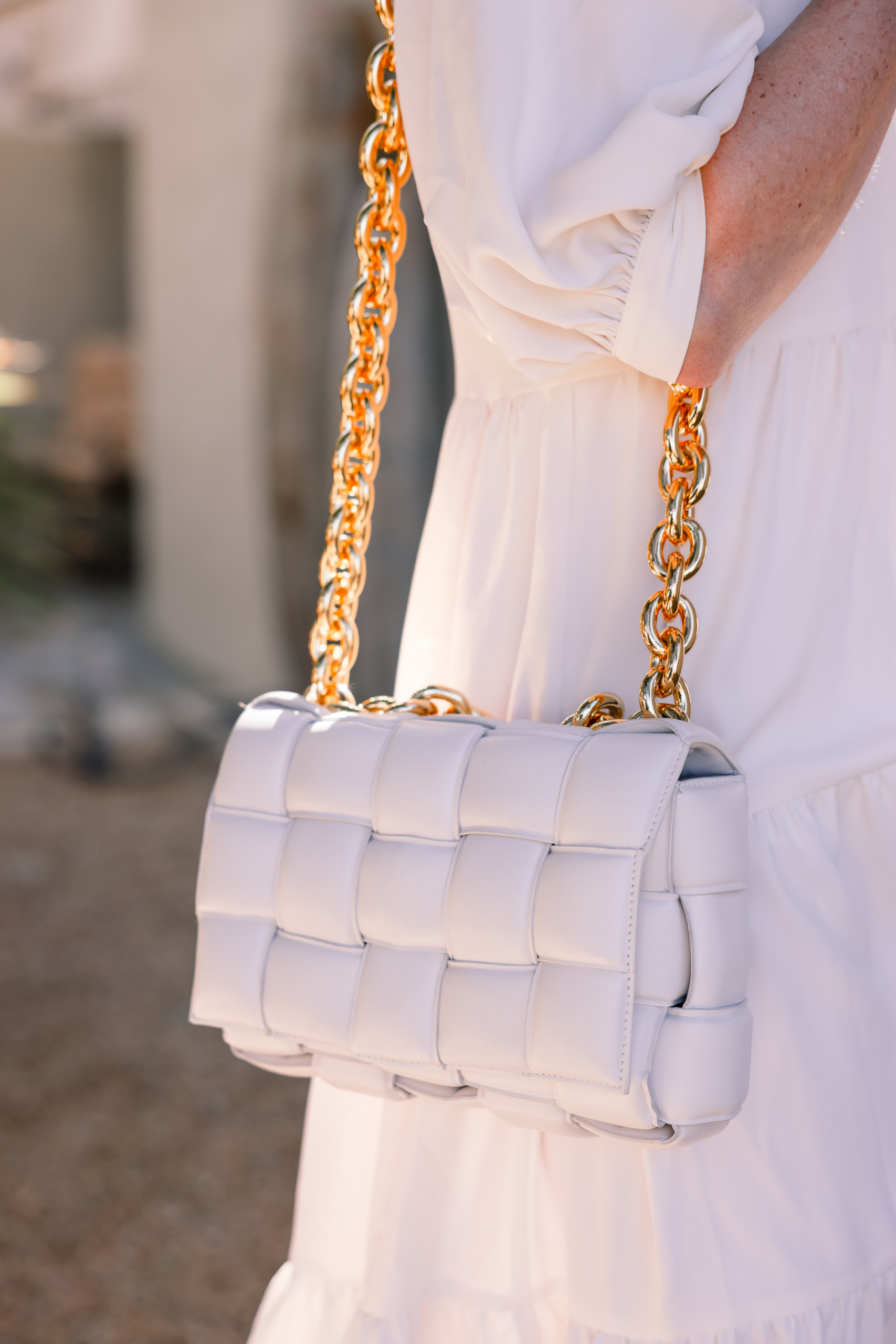 Honest review of Bottega Veneta Cassette Bag in White on fashion blogger over 40 Erin Busbee, perfect outfit formula, perfect summer outfit