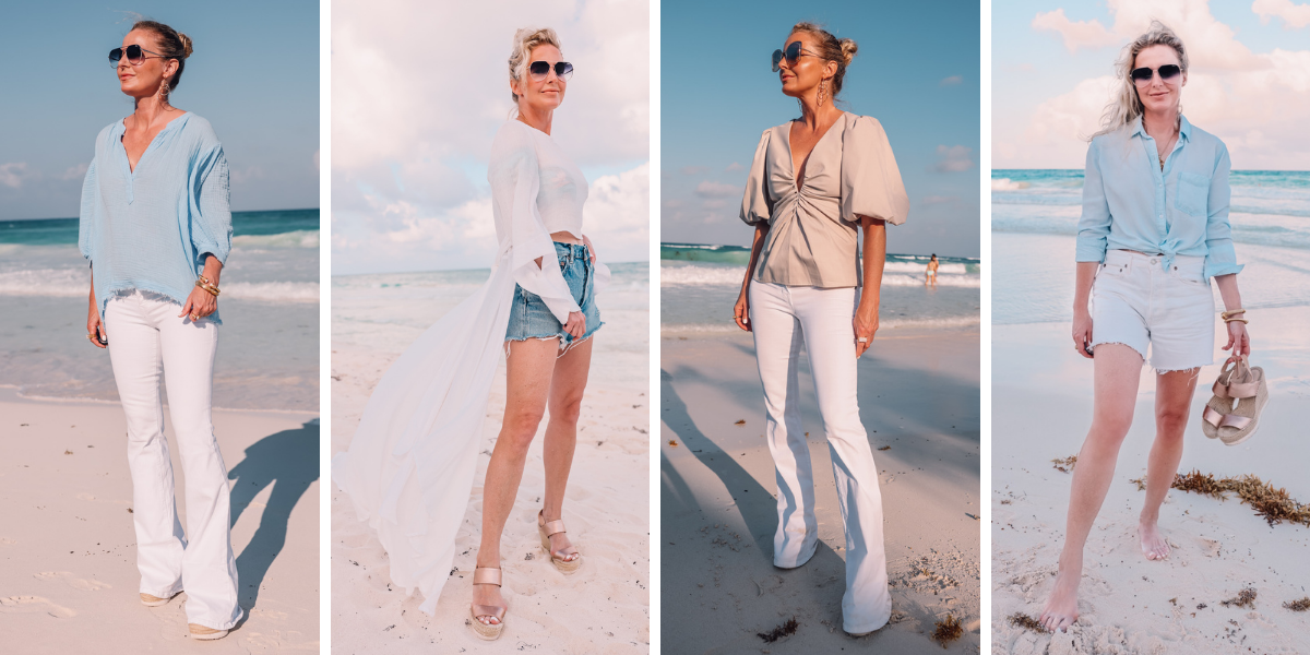 beach vacation outfits, what to wear mexico, what to pack mexico, what i wore mexico, erin busbee, 9seed blue gauzy top, lorena top by just bee queen, ecru amanda uprichard puff shoulder top, blue chambray rails button down