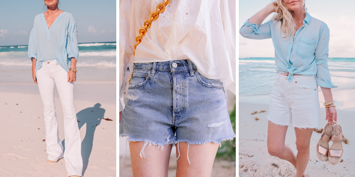 beach vacation outfits, what to wear mexico, what to pack mexico, what i wore mexico, erin busbee, white flare jeans, moussy vintage packard denim shorts, white agolde parker shorts