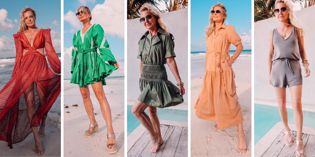 beach vacation outfits, what to wear mexico, what to pack mexico, what i wore mexico, erin busbee, rust patbo cutout dress, rhode green mini dress, green self portrait trench mini dress, tan cleobella tiered midi dress, lovers + friends easy breezy romper