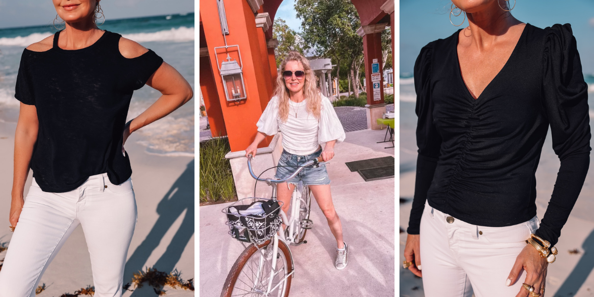 beach vacation outfits, what to wear mexico, what to pack mexico, what i wore mexico, erin busbee, lna cutout tee, free people white balloon sleeve top, frame ruched puff sleeve top