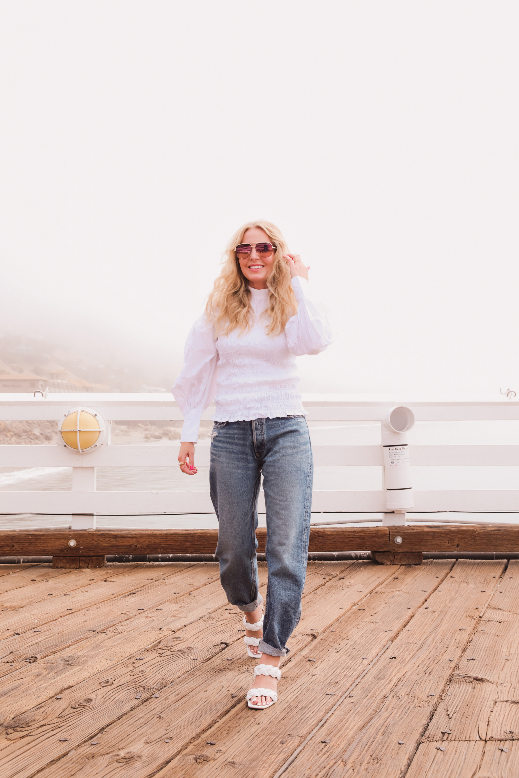 baggy jeans, how to wear baggy jeans, baggy jeans over 40, ganni puff sleeve top, moussy baggy jeans, express braided sandals, best baggy jeans