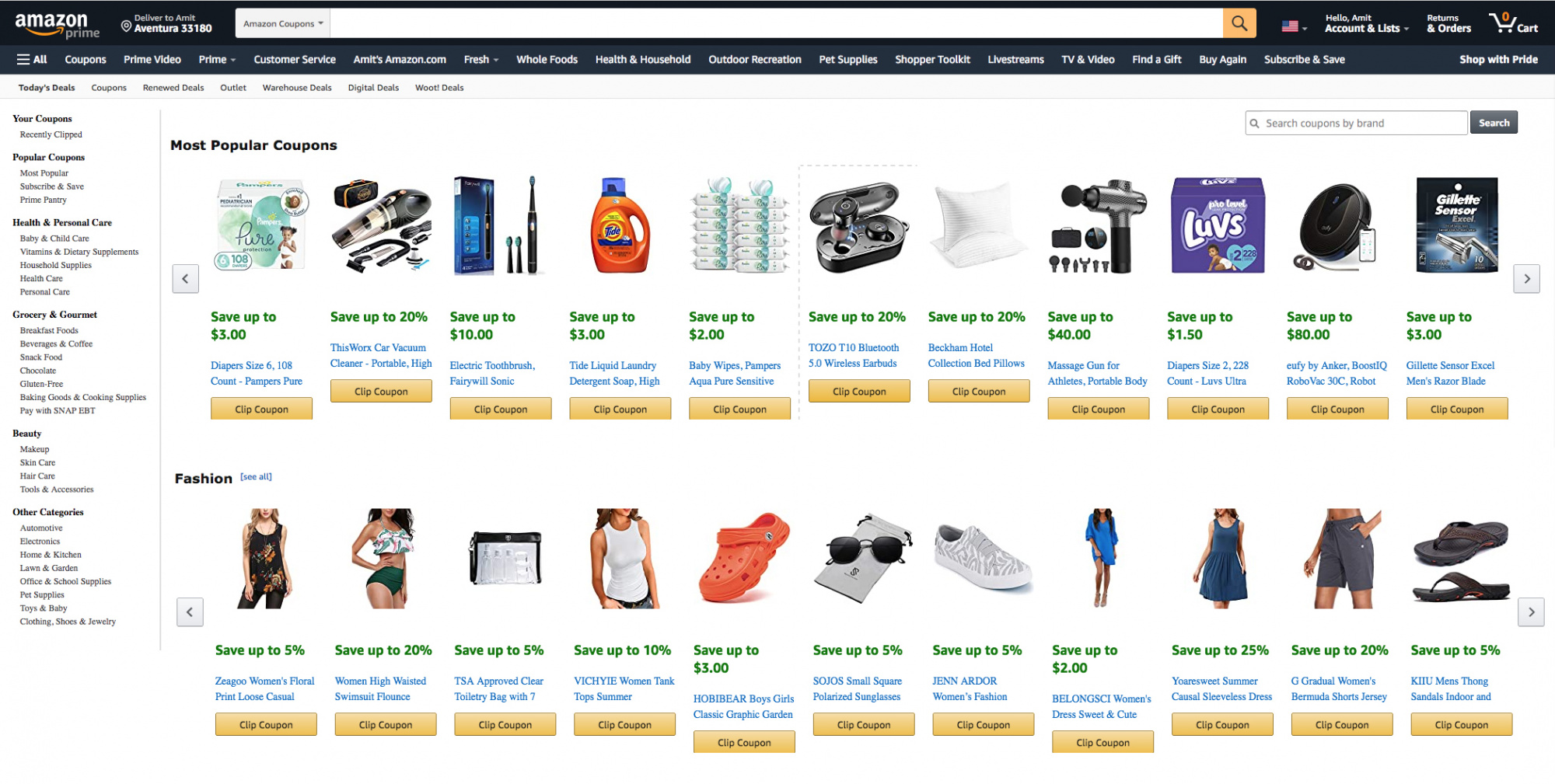 Best coupon sites, Amazon Coupons homepage