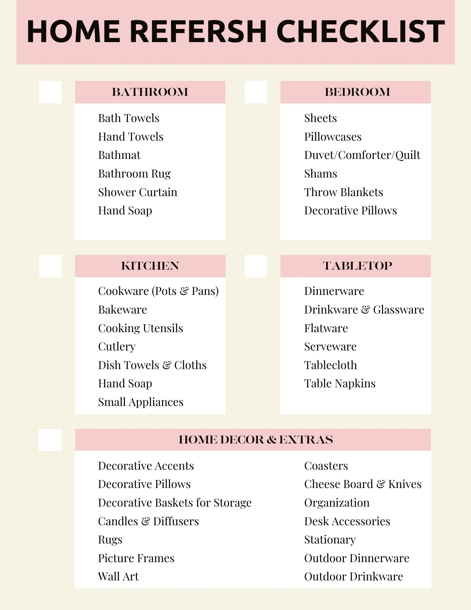 home refresh checklist, home refresh, room to room refresh, Nordstrom anniversary sale home