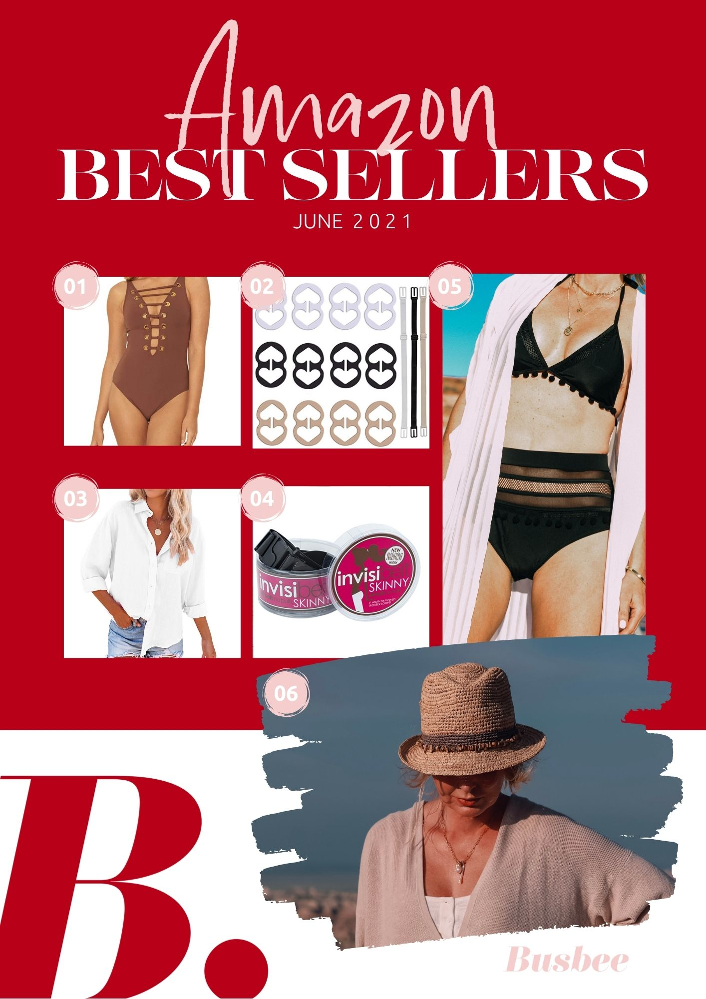 amazon best sellers, best sellers from amazon, $26 amazon swimsuit, rod beattie one piece swimsuit, bra clips, invisabelt, white button down shirt, packable hat, adjustable hat