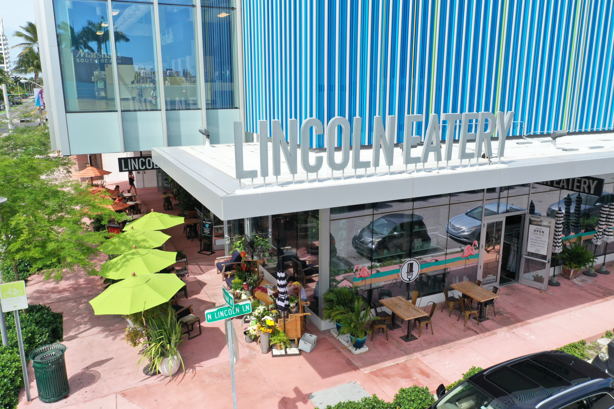 miami vacation guide, exterior of The Lincoln eatery food hall in Miami Beach, Florida