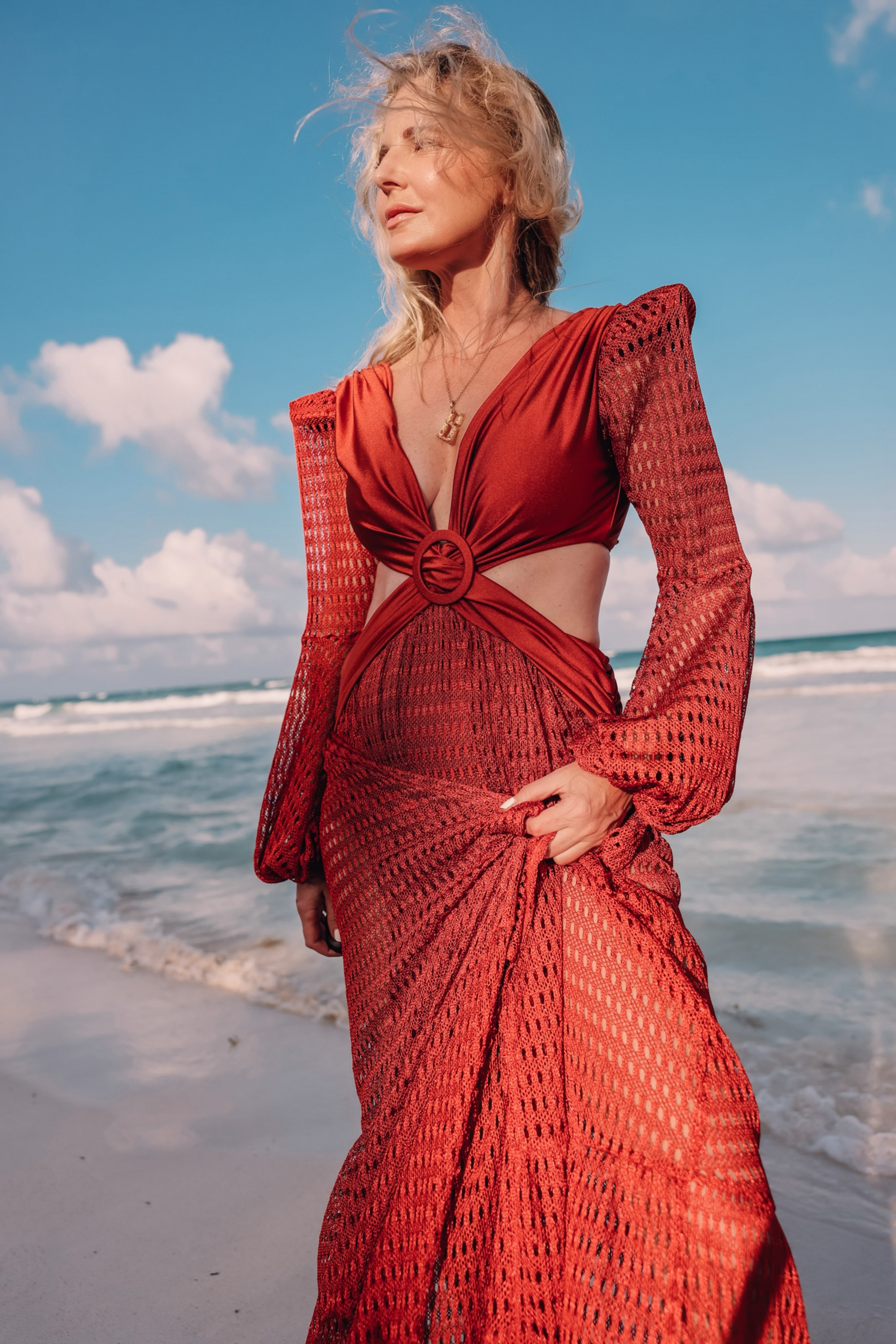 maxi dress by Patbo for the beach in crochet fabric and rust color in Tulum Mexico on fashion over 40 blogger Erin Busbee