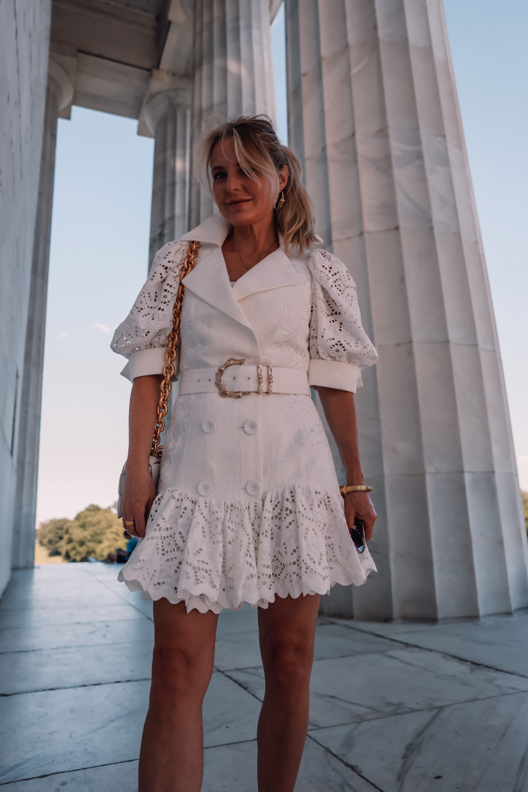 acler white belted dress, erin busbee, unique little white dresses, white dresses, white dresses over 40, white dress over 40, how to wear a white dress
