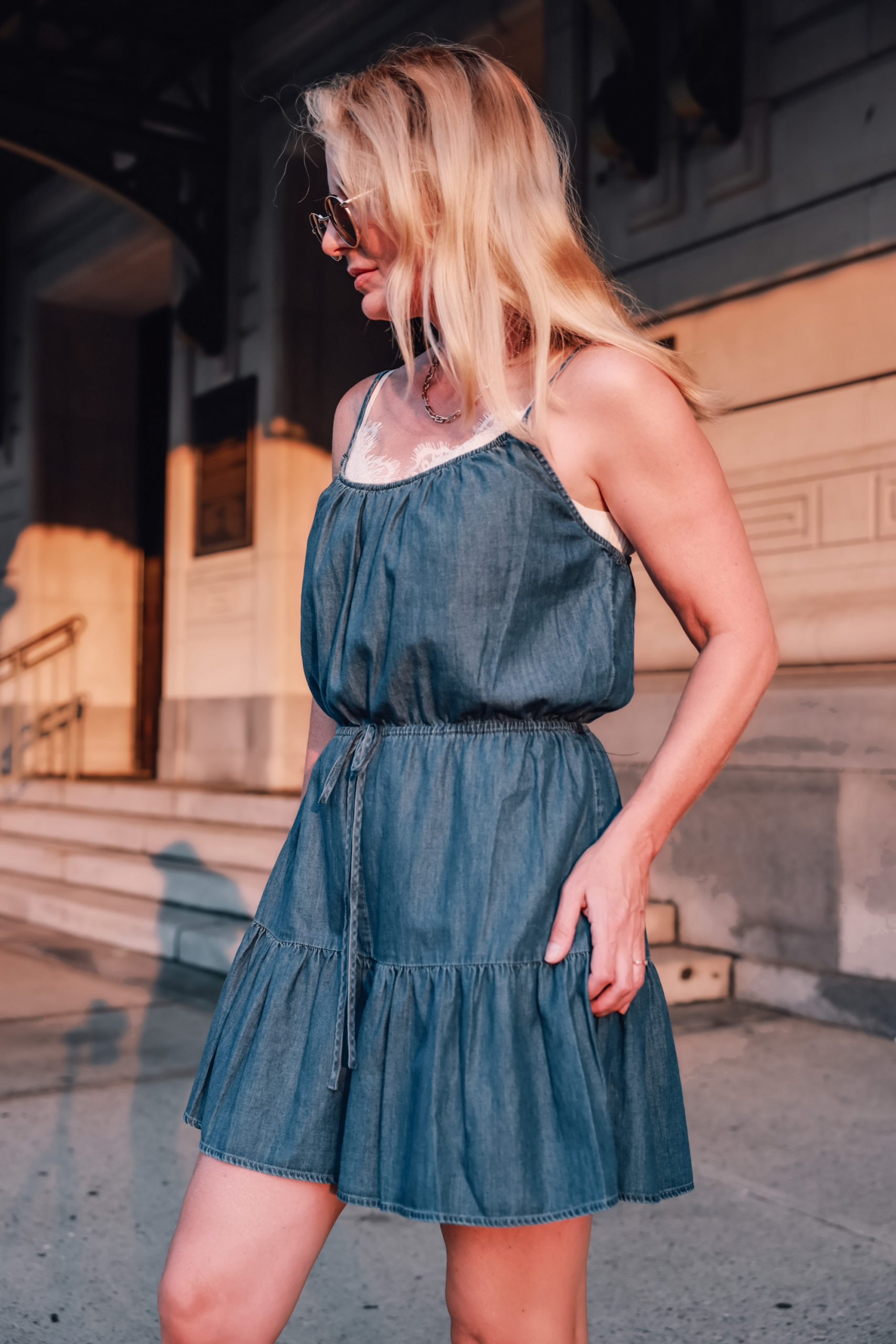 how to wear a romper, how to wear rompers, rompers over 40, three ways to wear a romper, express ruffled romper, see by chloe wedges, express paperclip necklace, express jewelry, express sunglasses, affordable romper