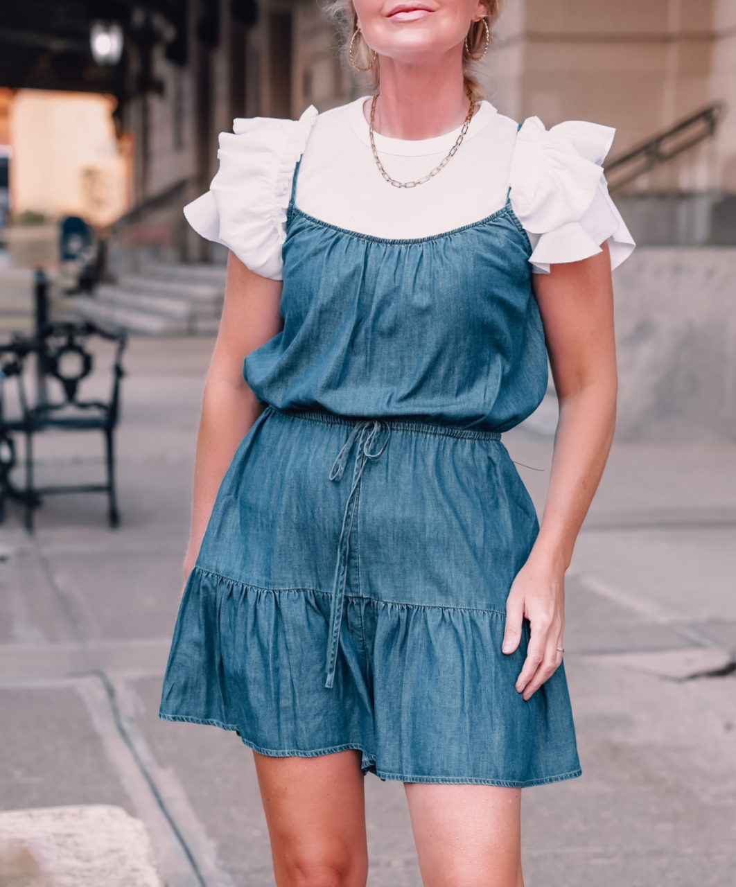 how to wear a romper, how to wear rompers, rompers over 40, three ways to wear a romper, express ruffled romper, express ruffle sleeve white tee, see by chloe wedges, express paperclip necklace, express jewelry, express sunglasses, affordable romper