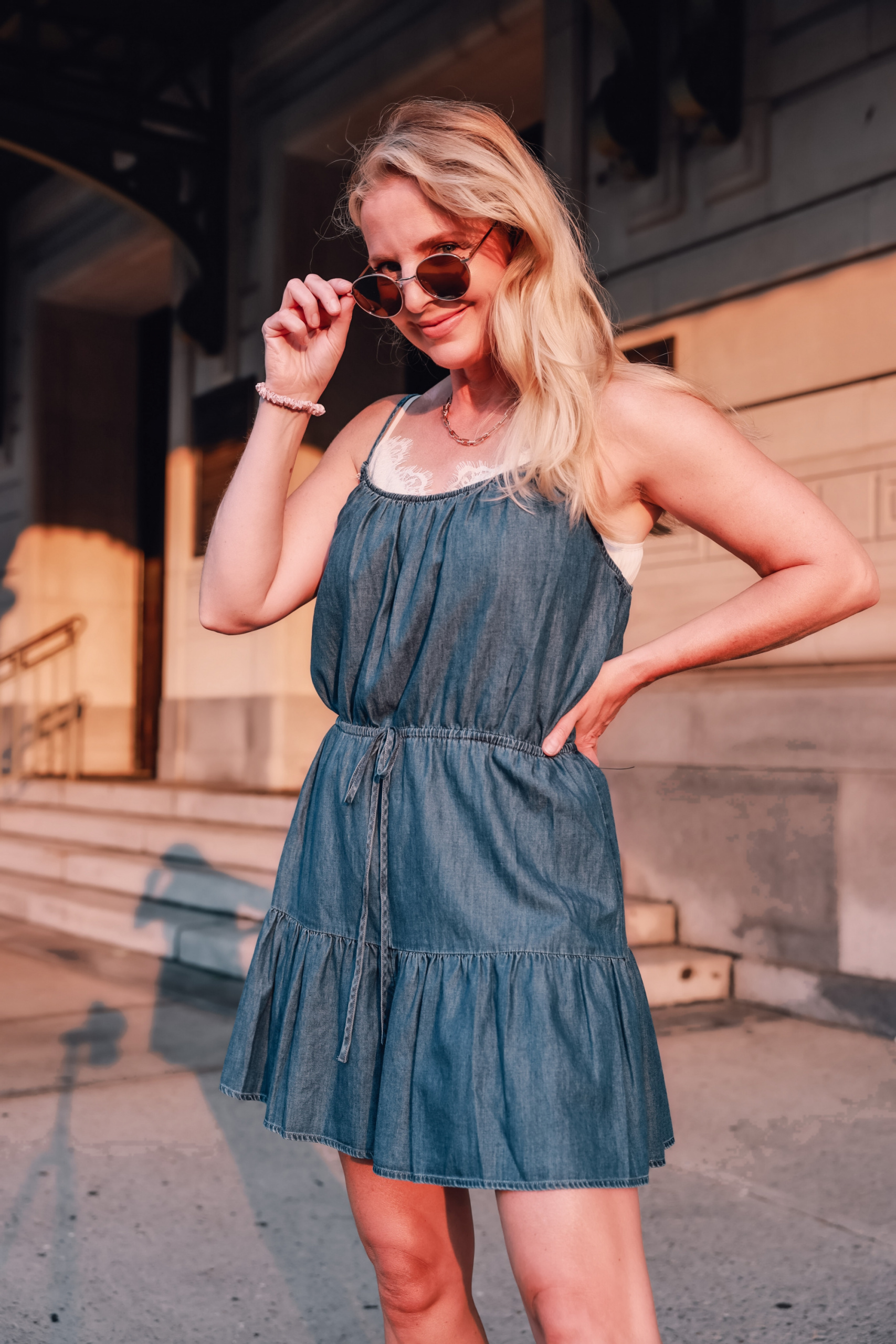 how to wear a romper, how to wear rompers, rompers over 40, three ways to wear a romper, express ruffled romper, express linen double breasted blazer, see by chloe wedges, express paperclip necklace, express jewelry, express sunglasses, affordable romper