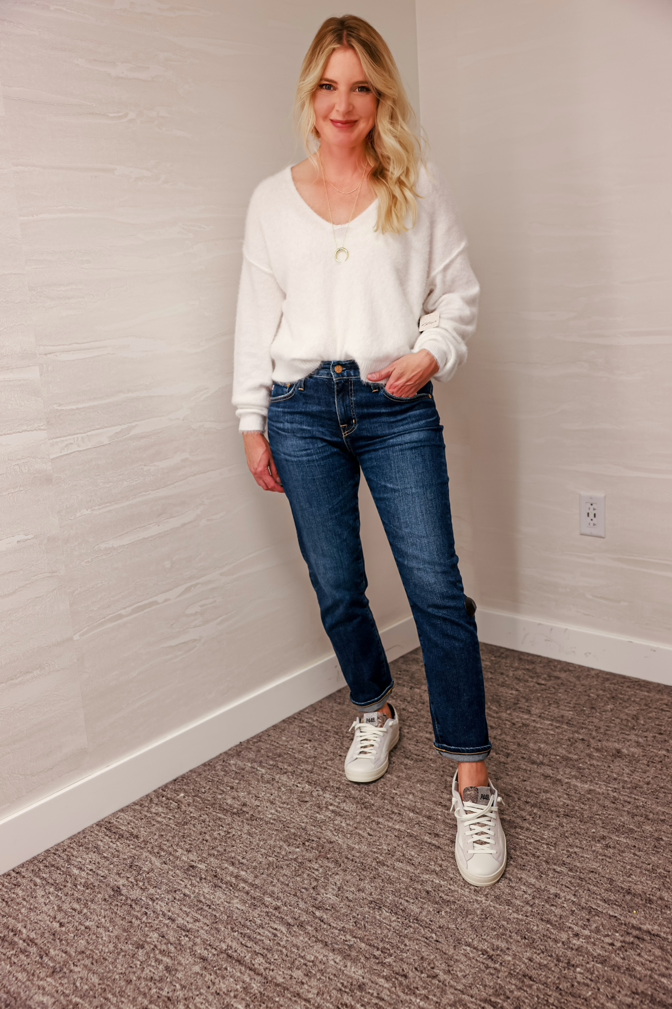 Nordstrom Anniversary Sale 2021 - Nordstrom Anniversary Sale Outfits on Erin Busbee - Free People White Princess Sweater with AG Jeans