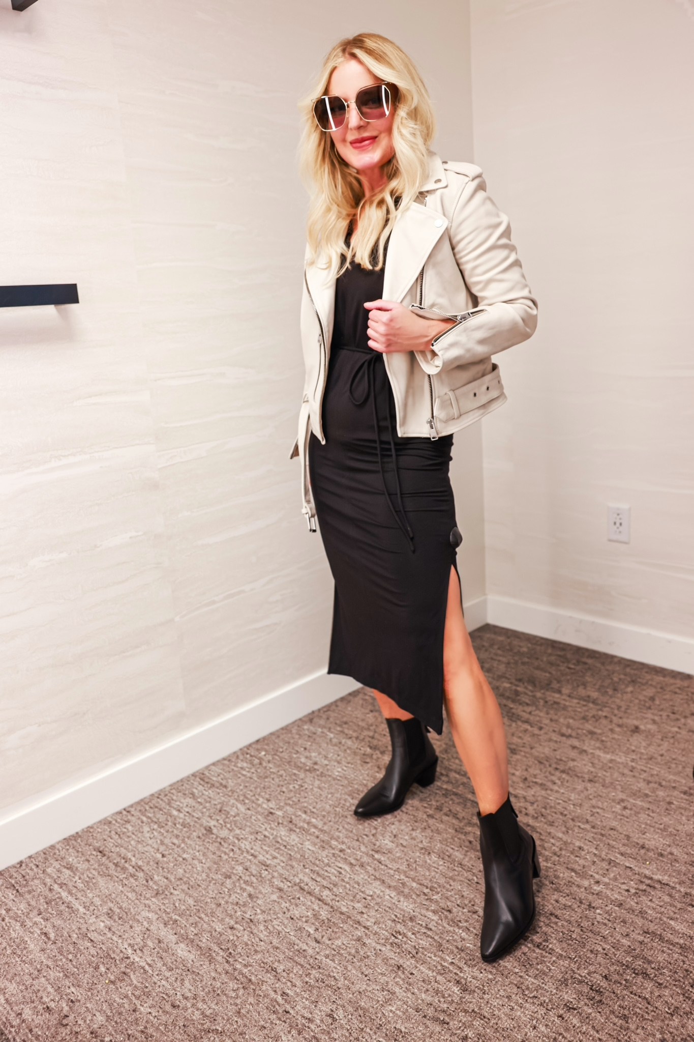 Nordstrom Anniversary Sale 2021 Vince midi dress in black with AllSaints dove gray leather jacket and black pointed toe booties on fashion blogger ove 40 Erin Busbee